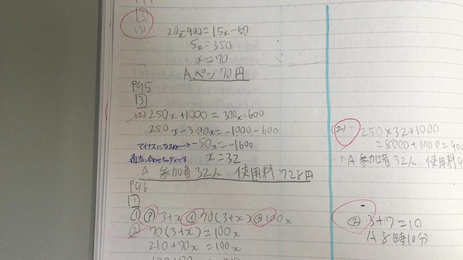 宿題ノートの例